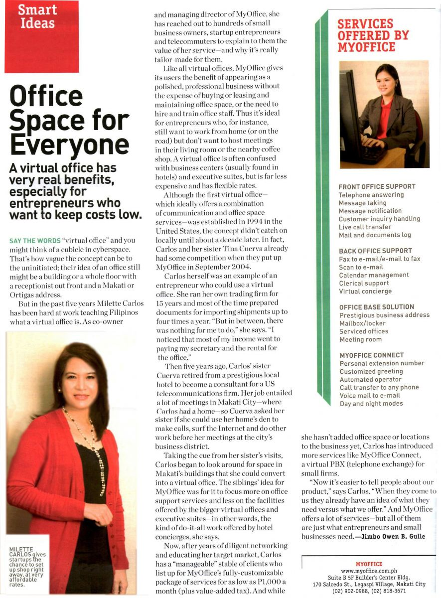 Entrepreneur Magazine / Smart Ideas: MyOffice, office space for everyone